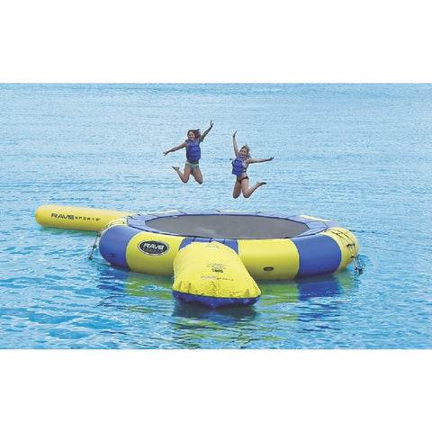 2 kids jumping on the yellow and blue Rave Aqua Jump Eclipse 200 Trampoline Water Park out on a lake.