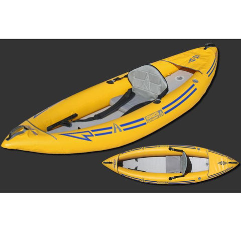 Top view and front display view of the yellow with grey interior of the Advanced Elements Attack Whitewater 1 Person Inflatable Kayak.
