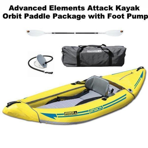 Advanced Elements Attack Whitewater Inflatable Kayak Package with TwiLite Paddle and Foot Pump and Carry Bag