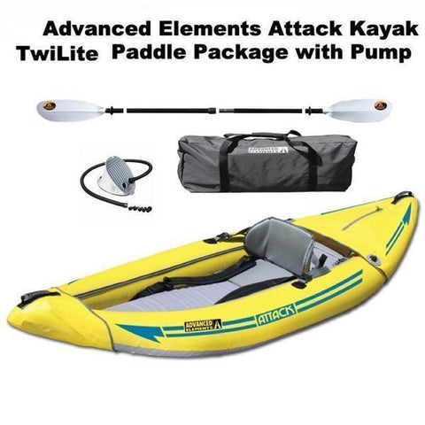 Advanced Elements Attack Whitewater Inflatable Kayak Package with Orbit Paddle and Foot Pump