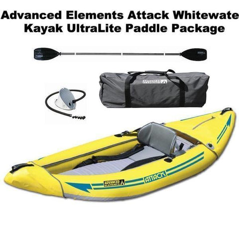 Advanced Elements Attack Whitewater Inflatable Kayak Package with UltraLite Paddle and Foot Pump