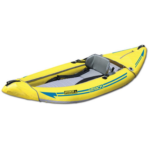 Front/Side display view of the Advanced Elements Attack Whitewater 1 Person Inflatable Kayak.  Yellow outside and grey interior.
