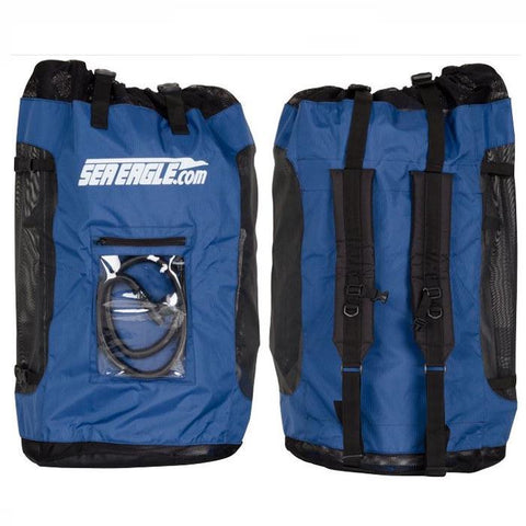 Sea Eagle Blue Backpack closeup. Blue backpack with black trim and Sea Eagle logo.  Clear pouch on the front of the backpack, straps on the back.