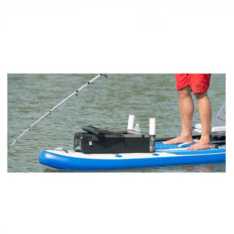 Sea Eagle Multi-Purpose Kayak Storage Box in use on an inflatable SUP out on the lake.