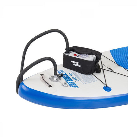 Sea Eagle BTP Two Stage Electric Turbo Pump setup and being used on an inflatable paddle board.