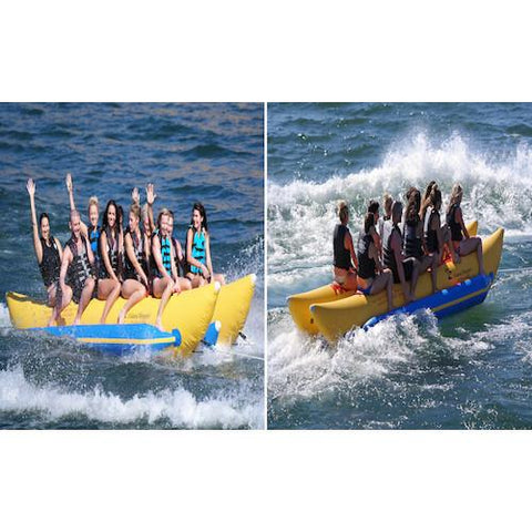 Cross section of the front side view and rear side view of the inflatable Island Hopper 10 Person Banana Boat Tube splashing across the lake full with 10 passengers.