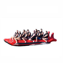 Island Hopper 10 Person Red Shark Banana Boat side view full of 10 passengers, on a white background.
