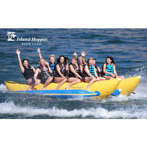 Island Hopper 10 Person Banana Boat Tube on the water