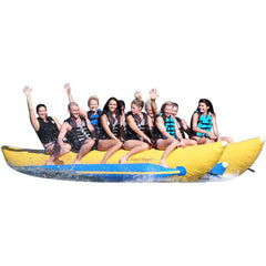 Yellow Island Hopper 10 Person Banana Boat Tube with light blue trim.  10 people riding the inflatable banana boat on a white background.