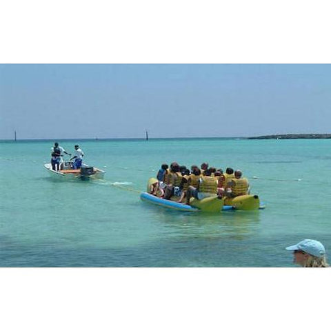 Island Hopper 10 Person Banana Boat Tube on the ocean back view.