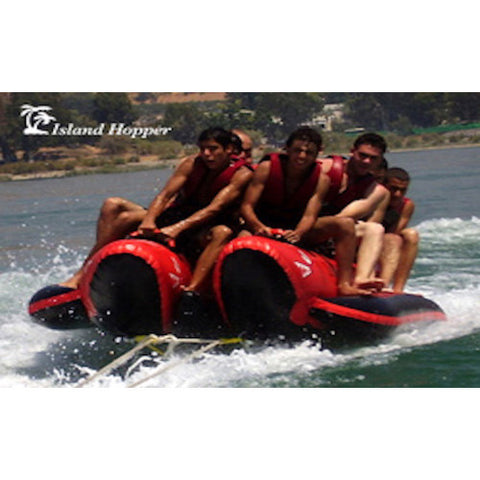 Island Hopper 10 Person Red Shark Banana Boat Towable in action front view
