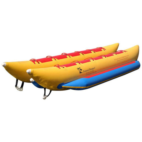 Island Hopper 10 Person Banana Boat Tube, Yellow with blue foot rest and red seats.  Display view of the top and side of the 10 person inflatable banana boat on a white background.