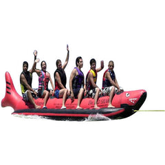 Island Hopper 6 Person Red Shark Banana Boat Towable Tube with 6 guys riding it.  Cutout image on a white background.