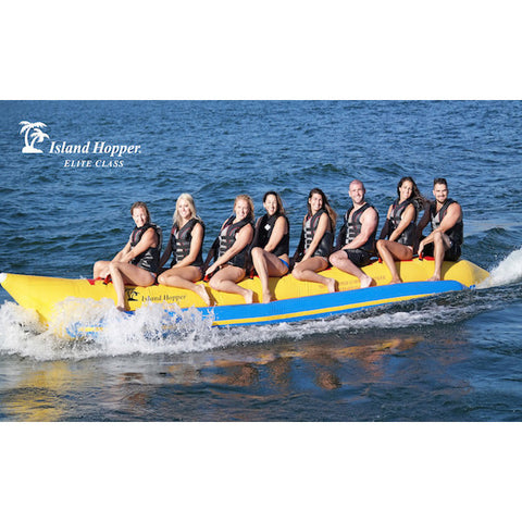 Yellow Island Hopper 8 Person Towable Banana Boat Tube side view of the left side of an 8 man inflatable banana boat tube on the lake.