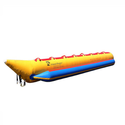 View from the front/side of the yellow Island Hopper 8 Person Banana Boat Tube with blue trim, image on a white background.