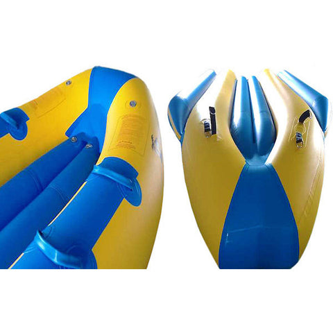 Close up of the top side and bottom side of the nose of the inflated Island Hopper 12 Person Towable Banana Boat Taxi