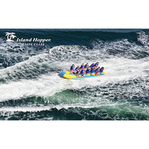 Island Hopper 12 Person Towable Banana Boat drone view in action on the water