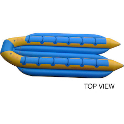 Top view of the yellow and blue Island Hopper 12 Person Towable Banana Boat Taxi