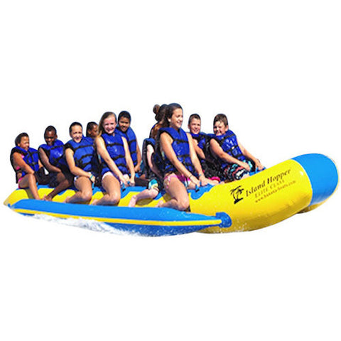 Island Hopper 12 Person Towable Banana Boat Taxi front right close up view of the yellow and blue 12 man banana boat in action on a white background.