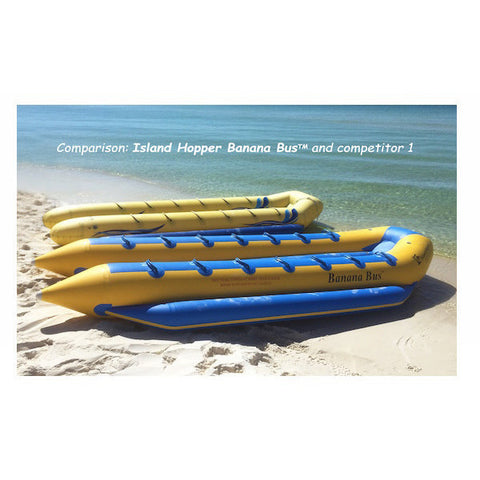 Comparison of quality of the Island Hopper 14 Person Towable Banana Bus versus the quality of the competitors. 2 14 man banana boats sitting side by side on the beach.  Yellow and blue.