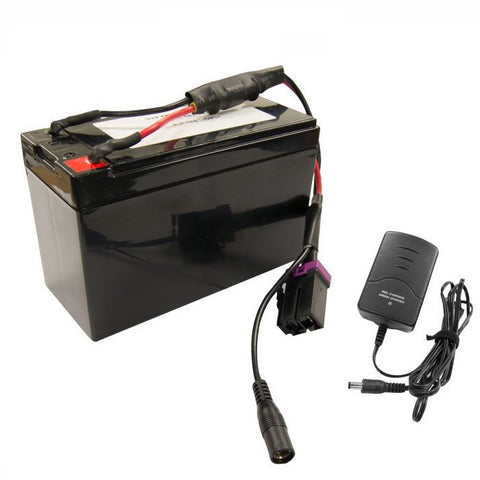 Black Bravo BP12 Single Stage Electric Pump battery with connections and battery charger.