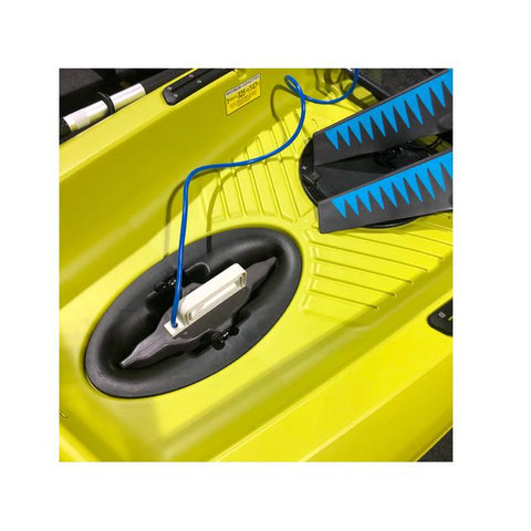 Bixpy Fin Pedal Drive Adapter for Kayaks fully inserted into opening in the bright yellow kayak floor.
