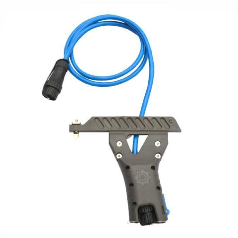 Bixpy SUP Adapter for US Fin Box.  The Adapter is solid black with 4 visible screw heads, it is connected to the black connection piece with a light blue cord.