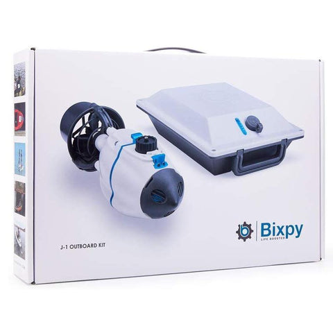 The front cover of the box of the Bixpy Jet Kayak Motor Kit.  It shows an image of the Bixpy Jet Thruster and Bixpy Outboard Kayak Motor Power Pack.  On the side of the box are color images.  The professional look of the box is just the start of enjoying one of the best kayak motors for sale.