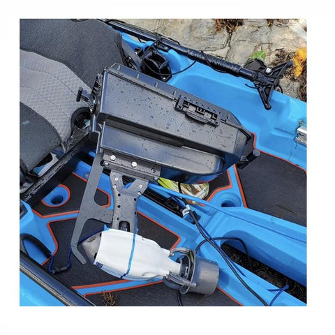 Bixpy Jet Kayak Motor for sale is shown in a blue Bonafide kayak hooked up to the Bixpy Pod Adapter for Bonafide Kayak.  The Bonafide Kayak Pod is all black and looks like a plastic center console for a car.