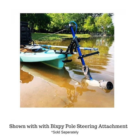 Bixpy Universal Power Pole Kayak Adapter is shown slightly hinged out of  muddy water with the Bixpy Pole Steering Attachment also in place and the Bixpy Jet Motor also in place.  Neither of those items are included in the purchase of the Bixpy Power Pole Adapter.