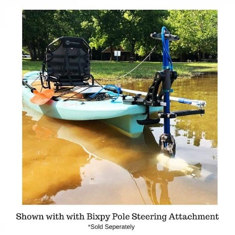 Bixpy Universal Power Pole Kayak Adapter is shown in muddy water with the Bixpy Pole Steering Attachment also in place and the Bixpy Jet Motor also in place.  Neither of those items are included in the purchase of the Bixpy Power Pole Adapter.