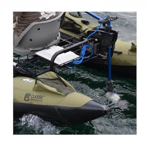 Bixpy Universal Transom Adapter is in use on the back of a personal pontoon.  The Kayak Jet Motor is in the water and the Bixpy Transom Adapter is being steered.