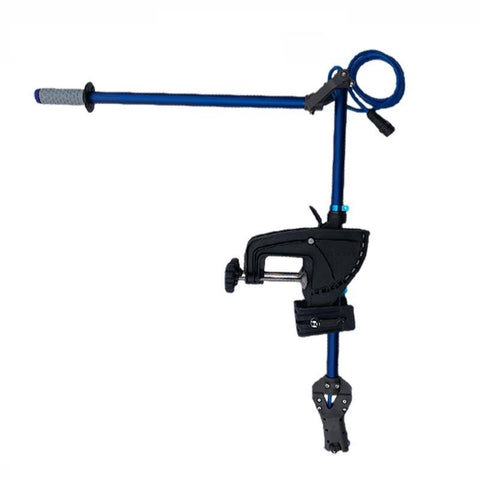 Bixpy Universal Transom Adapter with outstretched steering arm extended.  The Bixpy Transom Adapter has a blue shaft with black plates and handles.