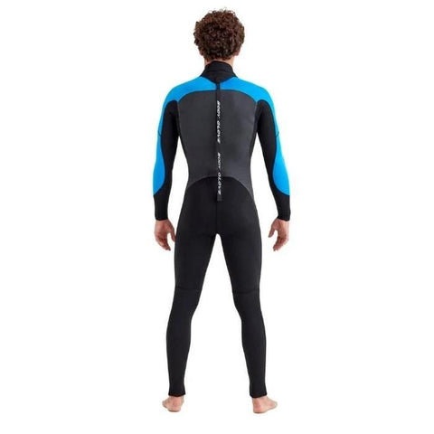 Body Glove Phoenix Back-Zip Mens Full Suit - Black/Blue Back View.  Light Blue shoulders and forearms, black body, grey back, and black and white zipper down the middle of the back front neck until above the butt.