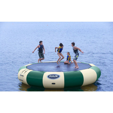 Green and tan Rave Bongo 20 Northwoods Water Bouncer on a lake with 4 kids bouncing on the Bongo 20.