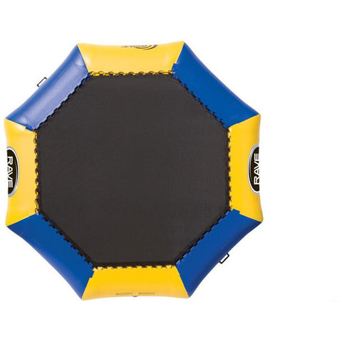 Yellow and blue Rave Bongo 10 Water Bouncer with black bouncing surface.  Sky view on white background.