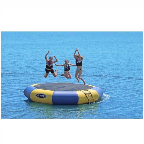 3 kids jumping on a yellow and blue Rave Bongo 13 Water Bouncer out on the lake.