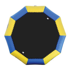 Sky view of the yellow and blue Rave Bongo 13 Water Bouncer with black bounce surface, image on a white background.