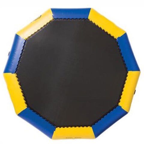 Rave Bongo 15 Water Bouncer with alternating blue and yellow sections of the inner tube around a black bounce surface.  Image on a white background.