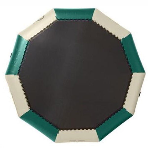Green and tan Rave Bongo 13 Water Bouncer Northwoods design with a black bounce surface, image on a white background.