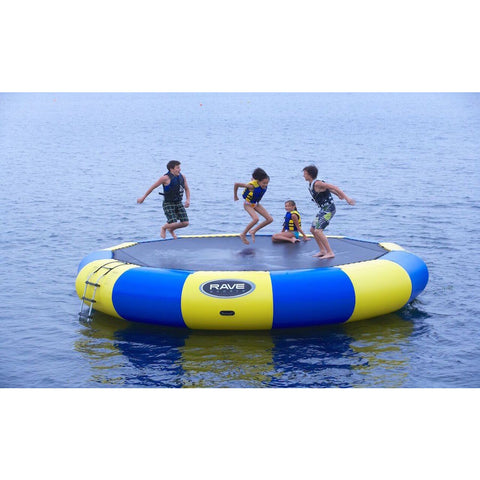5 kids bouncing on a Rave Bongo 20 Water Bouncer on the lake.  Yellow and blue inner tube with black jump surface.