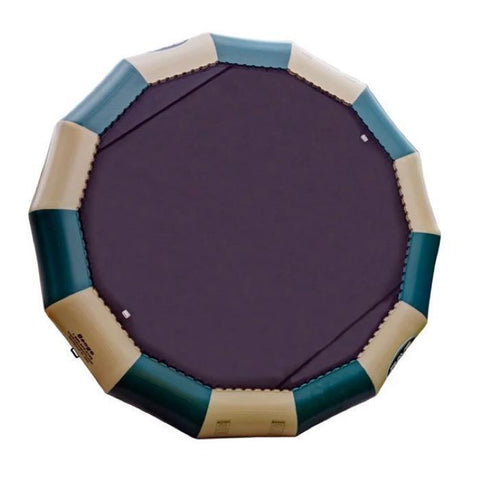 Green and Tan Rave Bongo 20 Water Bouncer Northwoods Edition with 20ft black bounce surface.  Overhead view, image is on a white background.