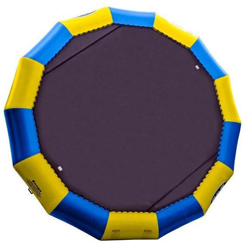 Rave Bongo 20 Water Bouncer with alternating blue and yellow sections of the inner tube with a 20ft black bounce surface.  Image is on a white background.