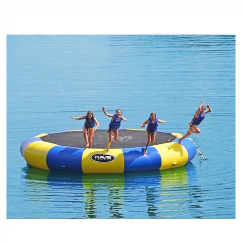 4 kids jumping off of the yellow and blue Rave Bongo 20 Water Bouncer on a lake.