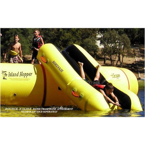 Island Hopper Bounce N Slide Attachment front view with 2 kid waiting on the water trampoline.