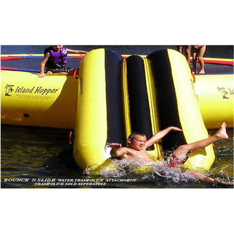Island Hopper Bounce N Slide Attachment, kid sliding down into the lake.  Front view close up.