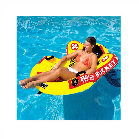 WOW Watersports Bucket Seat 1 Person Towable Boat Tube & Lounger in the pool