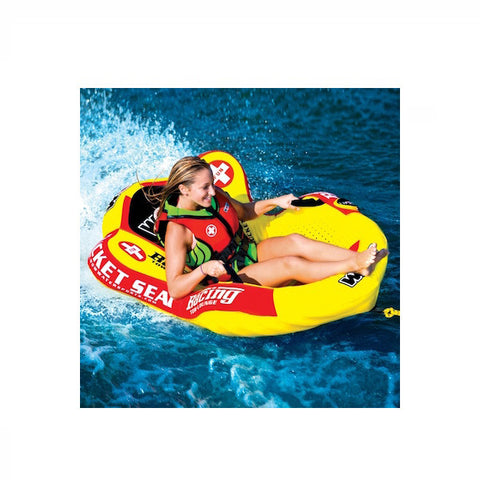 WOW Watersports Bucket Seat 1 Person Towable Boat Tube & Lounger pulled by boat