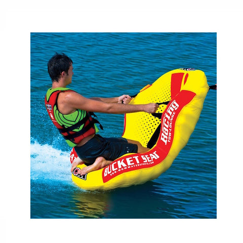 WOW Watersports Bucket Seat 1 Person Towable Boat Tube & Lounger on the lake
