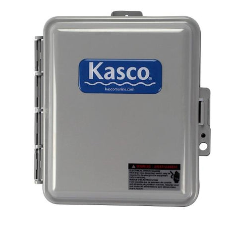 Kasco De Icer C-20 Time and Temperature Control Panel is shown.  The square box is all grey with the blue rectangle on the front that says Kasco in white letters.